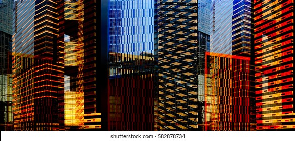 Dynamic business cityscape. Downtown district with skyscrapers / multistory office buildings. Reworked panoramic photo of modern architecture.