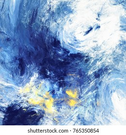 Dynamic clouds. Abstract painting blue color texture. Bright artistic motion background. Modern futuristic pattern. Fractal artwork for creative graphic design.