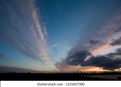 dynamic clouds on a dramatic vivid sky while sunset