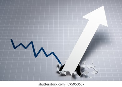 Dynamic growth chart. Upward arrow breaking through the graph. Gray line chart and white large arrow.