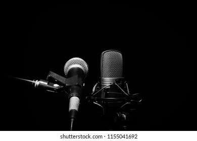 dynamic microphone and condenser microphone on black with copy space on top