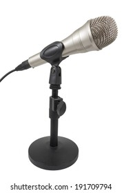 Dynamic microphone on white background