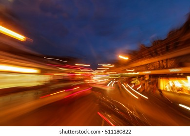Dynamic picture of a London street at night