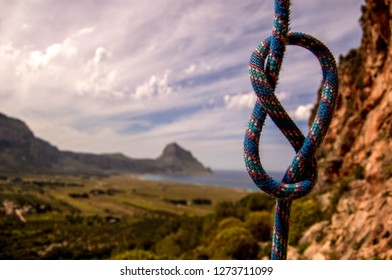Dynamic rope showing single figure of eight knot with beautiful background