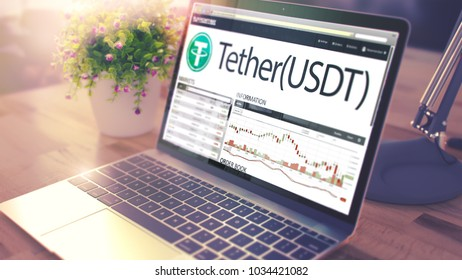 The Dynamics of Cost of Tether - USDT on Modern Laptop Screen. Cryptocurrency Concept. Toned Image with Selective Focus. 3D Illustration .