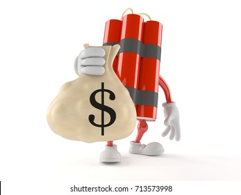 Dynamite character holding money bag isolated on white background. 3d illustration