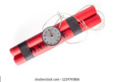 Dynamite detonator bomb isolated on white background