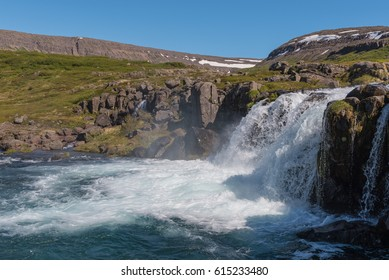 Dynjandi waterfall during summer in the Westfjords of Iceland