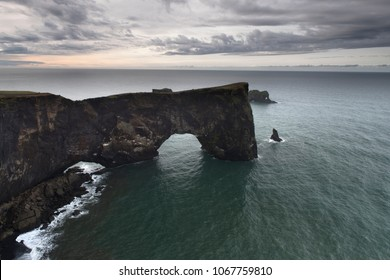 Dyrholaey promontory a popular tourist spot on the south coast of Iceland