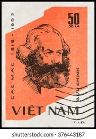 DZERZHINSK, RUSSIA - FEBRUARY 04, 2016: A postage stamp of VIETNAM shows Karl Marx, circa 1970