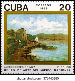 DZERZHINSK, RUSSIA - FEBRUARY 04, 2016: A postage stamp of CUBA shows Outskirts of Nice by Eugene Louis Boudin, circa 1989