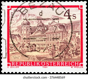 DZERZHINSK, RUSSIA - FEBRUARY 04, 2016: A postage stamp of AUSTRIA shows Stams Monastery, circa 1984