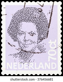 DZERZHINSK, RUSSIA - FEBRUARY 04, 2016: A postage stamp of NETHERLANDS shows portrait of Queen Beatrix regnant of the Kingdom of the Netherlands, circa 1982