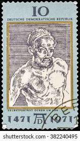 DZERZHINSK, RUSSIA - FEBRUARY 11, 2016: A postage stamp of GERMANY shows Portrait, by Durer, 500th anniversary of the birth of Albrecht Durer, painter and engraver, circa 1971