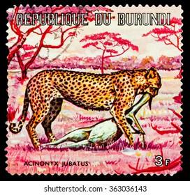 DZERZHINSK, RUSSIA - JANUARY 13, 2016: A postage stamp of Burundi shows Animal World of Africa,  circa 1973