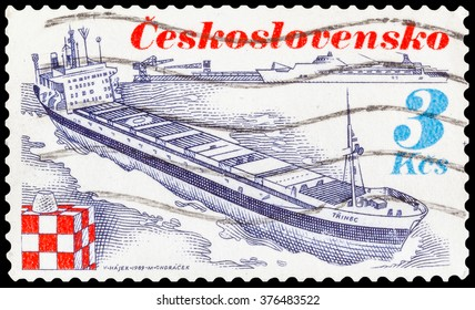 DZERZHINSK, RUSSIA - JANUARY 18, 2016: A postage stamp of CZECHOSLOVAKIA shows container ship Trinec, circa 1989