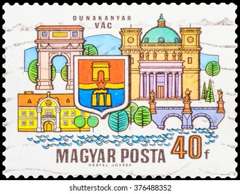 DZERZHINSK, RUSSIA - JANUARY 18, 2016: A postage stamp of HUNGARY shows coat of arms and buildings of VAC; towns of Danube Bend (Dunakanyar), circa 1969