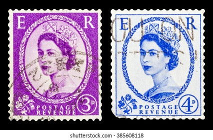DZERZHINSK, RUSSIA - JANUARY 18, 2016: Set of a postage stamp of UNITED KINGDOM shows Portrait of Queen Elizabeth 2nd, series, circa 1952 to 1965