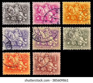 DZERZHINSK, RUSSIA - JANUARY 18, 2016: Set of a postage stamp of PORTUGAL shows knight riding a horse, series, circa 1953