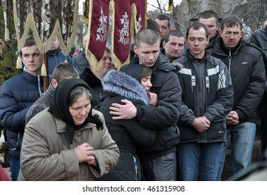 Dzhuryn - Chortkiv - Ukraine - March 20, 2015. On lap spent the last way the villagers Dzhuryn his compatriot Ruslan Kotsyuk and soldiers who died in the war against separatists in the Donbas
