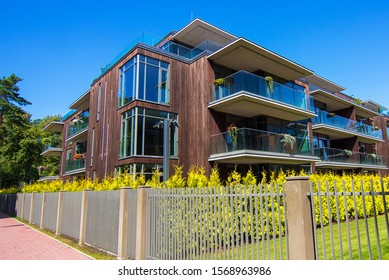 Dzintari, Jurmala/Latvia - 08.07.2019: Park Residences, residential modern complex in Dzintari park, Jurmala, Latvia. Location infrastructure provides easy  access to Jurmala cultural venues.