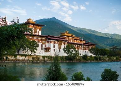 The Dzong Monastery in Bhutan Himalayas mountain