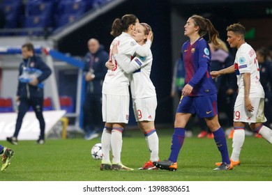 Dzsenifer Marozsan of Lyon and Eugenie Le Sommer of Lyon during UEFA Women's Champions League quarter final Olympique Lyonnais vs FC Barcelona 3,22,2018 Groupama stadium Decines Charpieu Lyon France