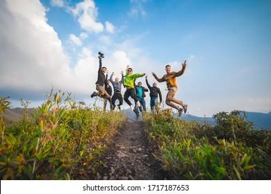 Dzukou Valley, Nagaland/ INDIA - April 23 2019: group of Travelers enjoying