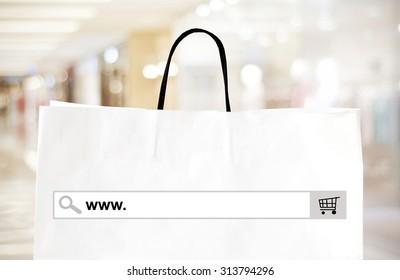 E commerce website shop, www on website banner background, online marketing for e commerce, www on blank search bar address over blur store for online shop web banner