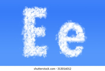 E e font clouds,English alphabet from clouds