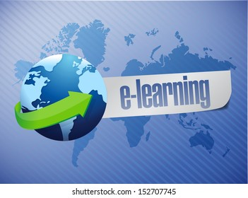 e learning globe concept illustration design over a world map background