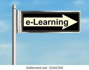 E learning. Road sign on the sky background. Raster illustration.