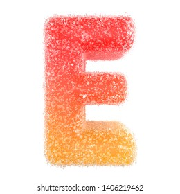 E - Letter of the alphabet made of candy