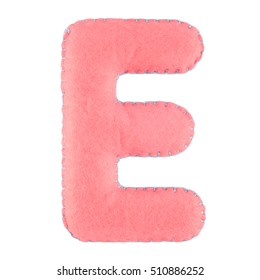 E- letter from pink felt. Collection of colorful handmade English alphabet isolate on white background