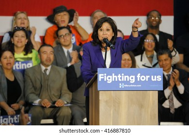E LOS ANGELES COLLEGE, MONTEREY PARK, CA - MAY 5, 2016 - Cinco de Mayo, Hilda Solis introduces Secretary State Hillary Clinton Addresses Mostly Latino Presidential Rally