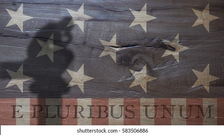 E Pluribus Unum. Latin for Out of Many One. Usa Flag on Durmast