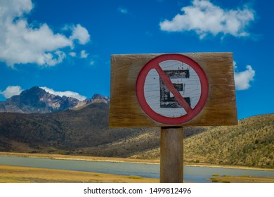 E Sign for tourist at Cotopaxi national park, Ecuador in a sunny and windy day