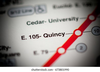 E105 Quincy Station. Cleveland Metro map.
