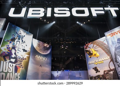 E3; The Electronic Entertainment Expo at the Los Angeles Convention Center, June 16, 2015. Los Angeles, California. The Ubisoft booth and displays.
