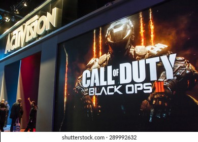 E3; The Electronic Entertainment Expo at the Los Angeles Convention Center, June 16, 2015. Los Angeles, California. Activision's booth and demo area for the video game Call of Duty Black Ops.