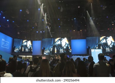 E3; The Electronic Entertainment Expo at the Los Angeles Convention Center, June 16, 2015. Los Angeles, California. Entering the expo, attendees were greeted by a wall of video displays.