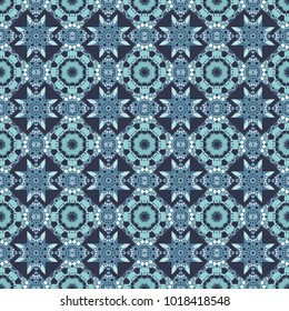 Each square of the pattern is also seamless backgrounds. Seamless pattern in style of patchwork in blue, gray and white colors.