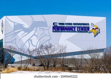 EAGAN, MN/USA - MARCH 17, 2018: Minnesota Vikings Twin Cities Orthopedics Performance Center. The Minnesota Vikings are a professional American football team.