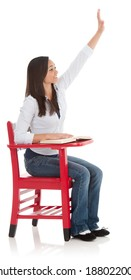 Eager Asian-American student seated at desk and raising her hand.