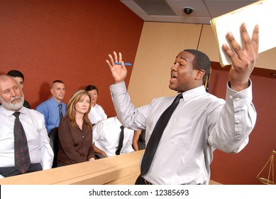 Eager and passionate attorney trying to convince the jury of his point