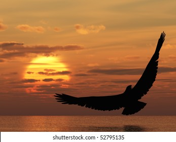 Eagle above ocean. Picturesque sunset. 3D rendering