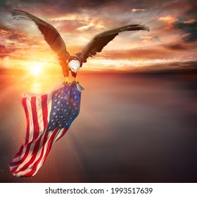Eagle With American Flag Flies In Freedom At Sunset - Vintage Toned