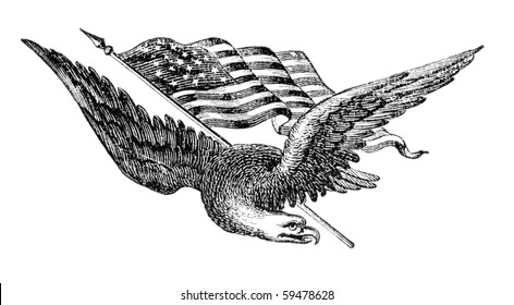 "Eagle and American flag. Illustration originally published in Ernst von Hesse-Wartegg's ""Nord Amerika"", swedish edition published in 1880."