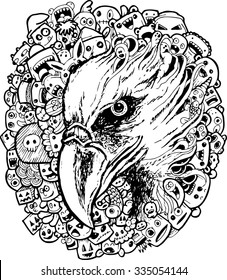 eagle doodle cartoon - hand drawing