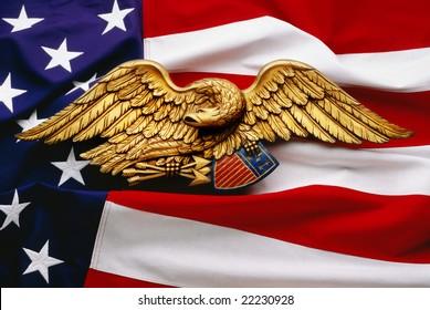 Eagle and flag on United States flag